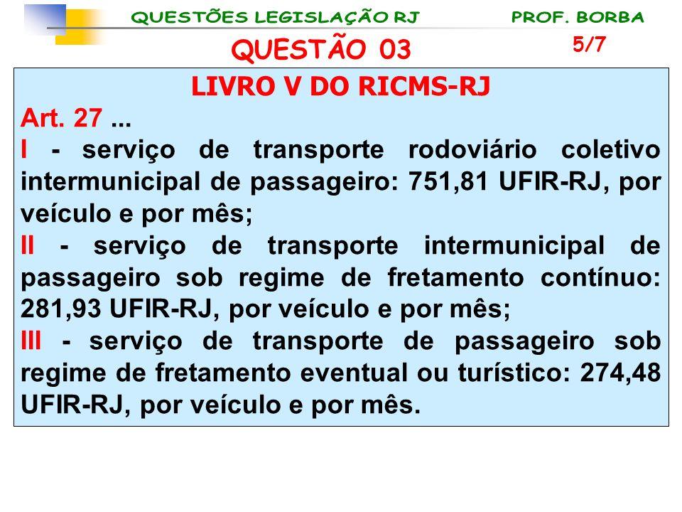 LIVRO V DO RICMS-RJ Art. 27... I - serviço de transporte rodoviário coletivo intermunicipal de passageiro: 751,81 UFIR-RJ, por veículo e por mês; II -