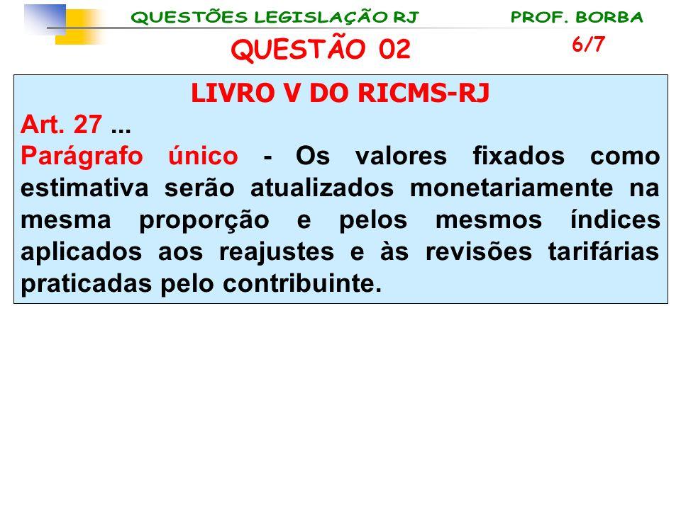 LIVRO V DO RICMS-RJ Art. 27... Parágrafo único - Os valores fixados como estimativa serão atualizados monetariamente na mesma proporção e pelos mesmos