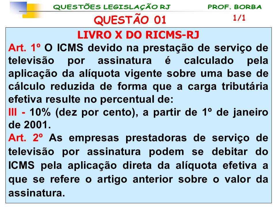 LIVRO X DO RICMS-RJ Art. 1º O ICMS devido na prestação de serviço de televisão por assinatura é calculado pela aplicação da alíquota vigente sobre uma