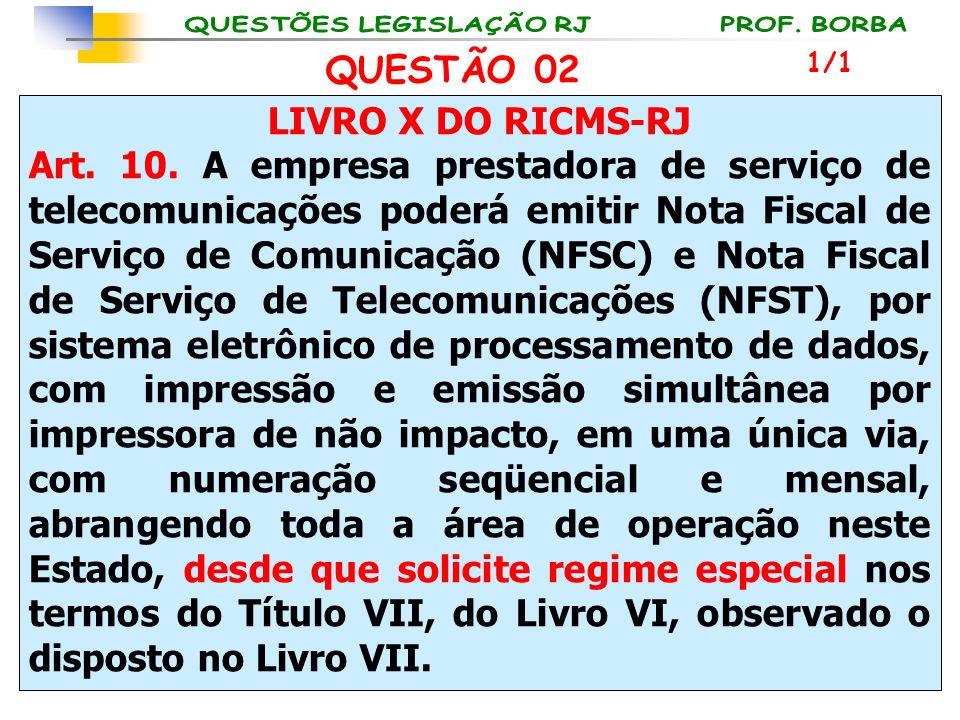 LIVRO X DO RICMS-RJ Art. 10. A empresa prestadora de serviço de telecomunicações poderá emitir Nota Fiscal de Serviço de Comunicação (NFSC) e Nota Fis