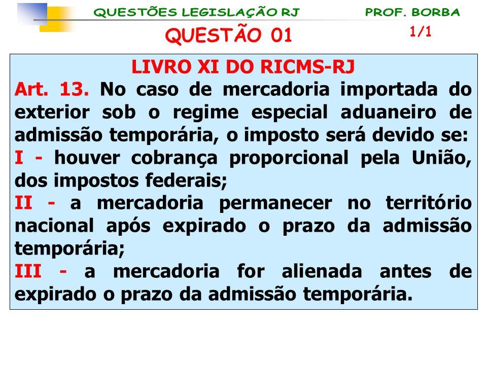 LIVRO XI DO RICMS-RJ Art. 13. No caso de mercadoria importada do exterior sob o regime especial aduaneiro de admissão temporária, o imposto será devid