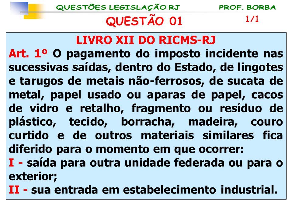 LIVRO XII DO RICMS-RJ Art. 1º O pagamento do imposto incidente nas sucessivas saídas, dentro do Estado, de lingotes e tarugos de metais não-ferrosos,