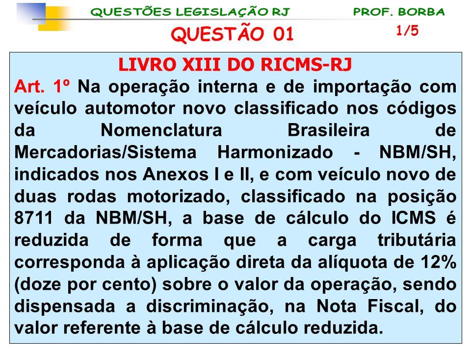 LIVRO XIII DO RICMS-RJ Art. 1º Na operação interna e de importação com veículo automotor novo classificado nos códigos da Nomenclatura Brasileira de M