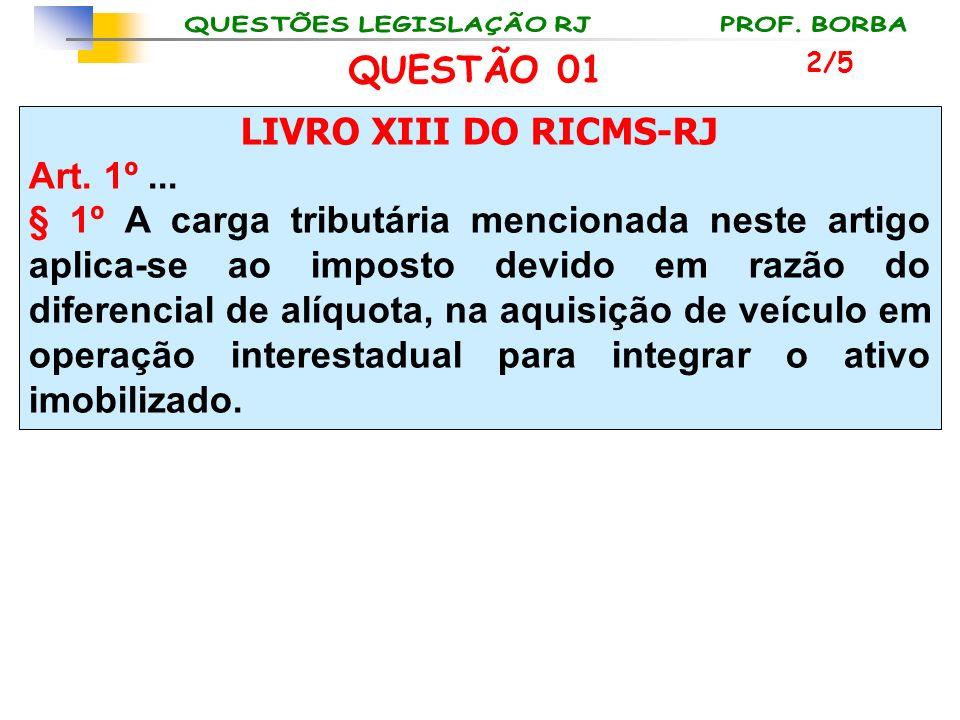 LIVRO XIII DO RICMS-RJ Art. 1º... § 1º A carga tributária mencionada neste artigo aplica-se ao imposto devido em razão do diferencial de alíquota, na