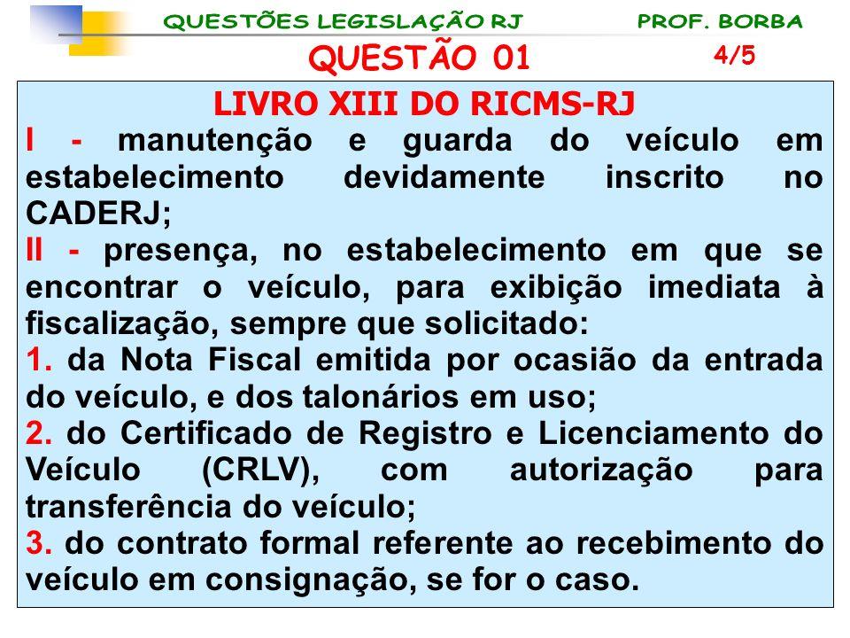 LIVRO XIII DO RICMS-RJ I - manutenção e guarda do veículo em estabelecimento devidamente inscrito no CADERJ; II - presença, no estabelecimento em que