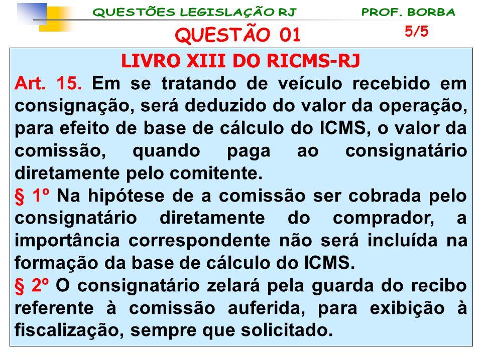 LIVRO XIII DO RICMS-RJ Art. 15. Em se tratando de veículo recebido em consignação, será deduzido do valor da operação, para efeito de base de cálculo