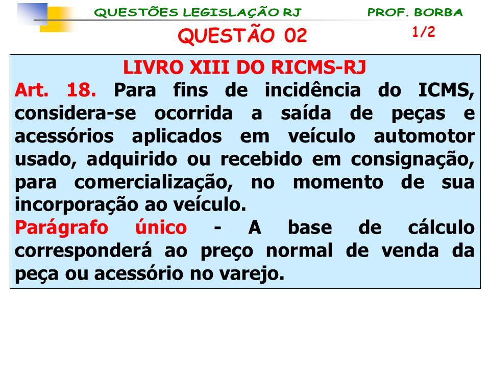 LIVRO XIII DO RICMS-RJ Art. 18. Para fins de incidência do ICMS, considera-se ocorrida a saída de peças e acessórios aplicados em veículo automotor us