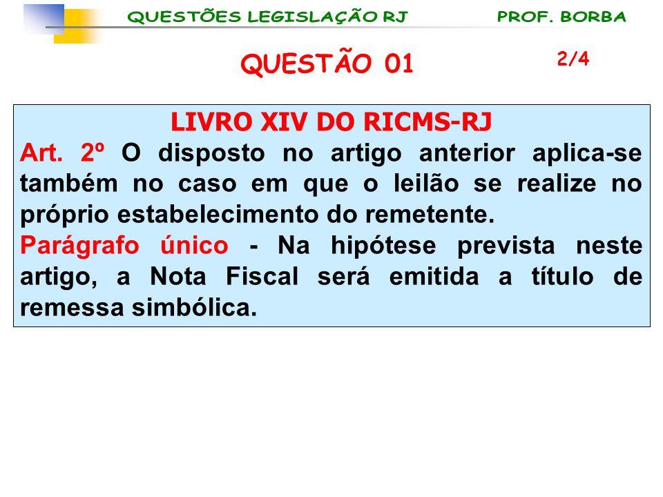 LIVRO XIV DO RICMS-RJ Art. 2º O disposto no artigo anterior aplica-se também no caso em que o leilão se realize no próprio estabelecimento do remetent