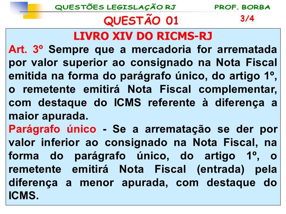 LIVRO XIV DO RICMS-RJ Art. 3º Sempre que a mercadoria for arrematada por valor superior ao consignado na Nota Fiscal emitida na forma do parágrafo úni