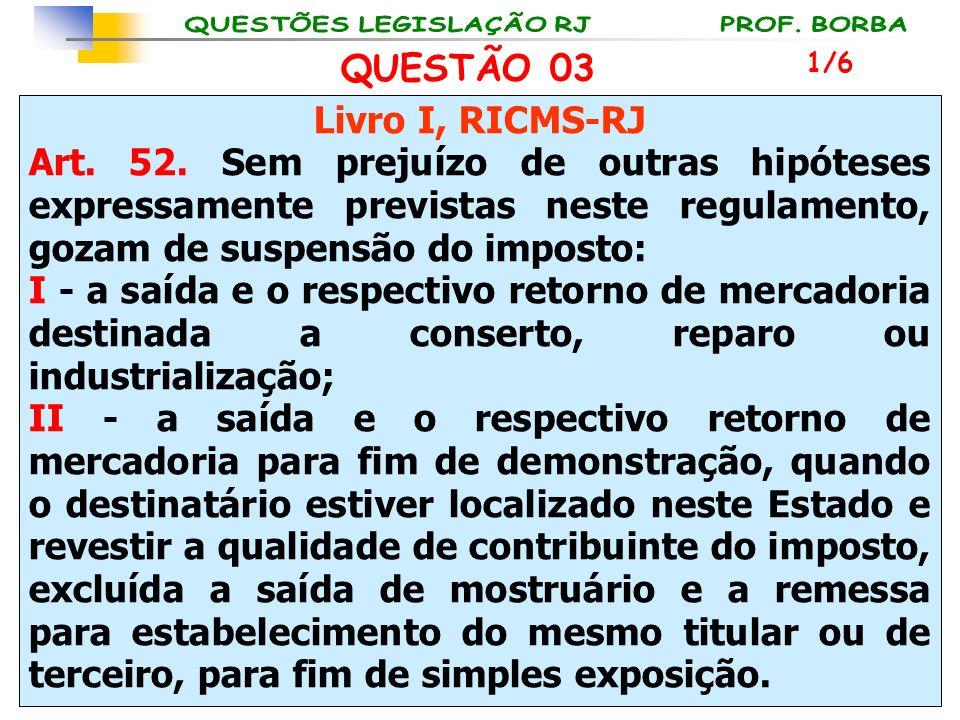 Livro I, RICMS-RJ Art. 52. Sem prejuízo de outras hipóteses expressamente previstas neste regulamento, gozam de suspensão do imposto: I - a saída e o