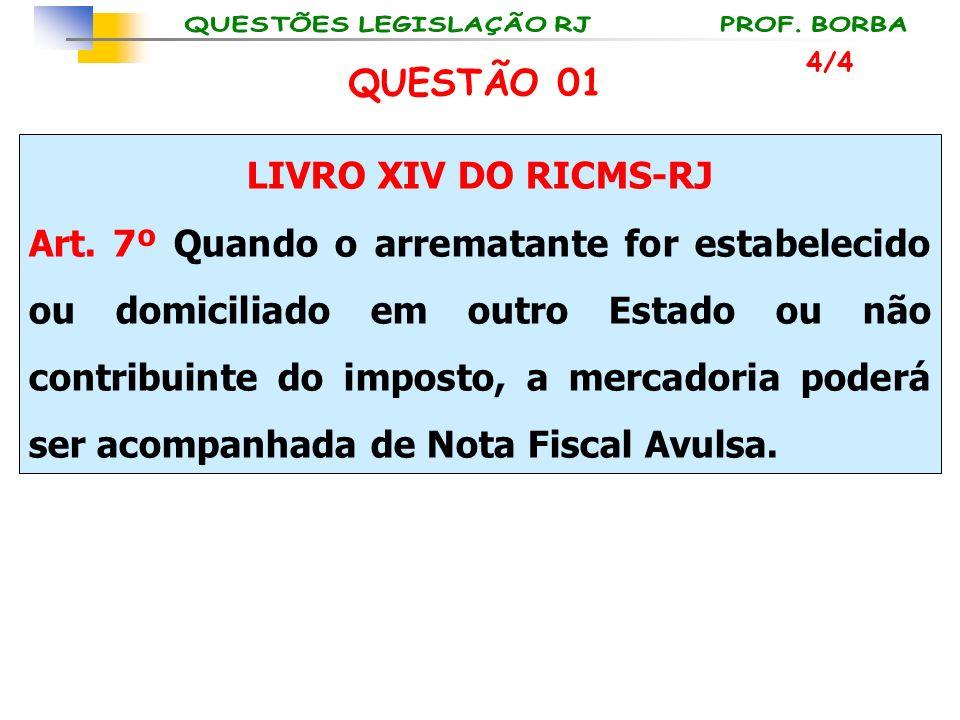 LIVRO XIV DO RICMS-RJ Art. 7º Quando o arrematante for estabelecido ou domiciliado em outro Estado ou não contribuinte do imposto, a mercadoria poderá
