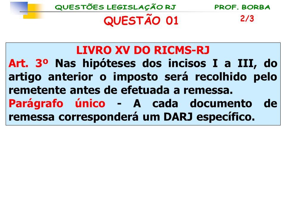LIVRO XV DO RICMS-RJ Art. 3º Nas hipóteses dos incisos I a III, do artigo anterior o imposto será recolhido pelo remetente antes de efetuada a remessa