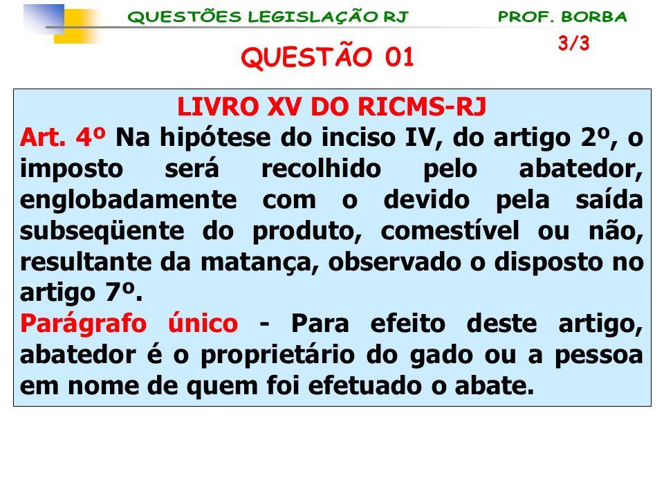 LIVRO XV DO RICMS-RJ Art. 4º Na hipótese do inciso IV, do artigo 2º, o imposto será recolhido pelo abatedor, englobadamente com o devido pela saída su