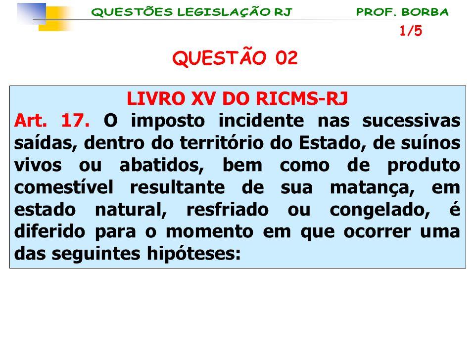 LIVRO XV DO RICMS-RJ Art. 17. O imposto incidente nas sucessivas saídas, dentro do território do Estado, de suínos vivos ou abatidos, bem como de prod