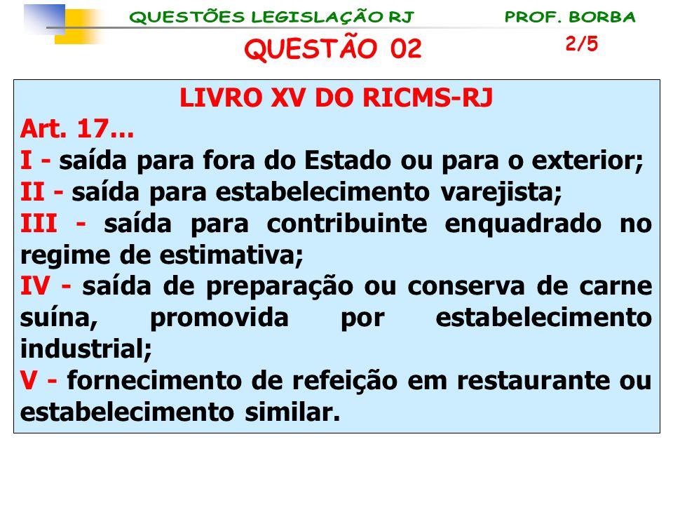 LIVRO XV DO RICMS-RJ Art. 17... I - saída para fora do Estado ou para o exterior; II - saída para estabelecimento varejista; III - saída para contribu