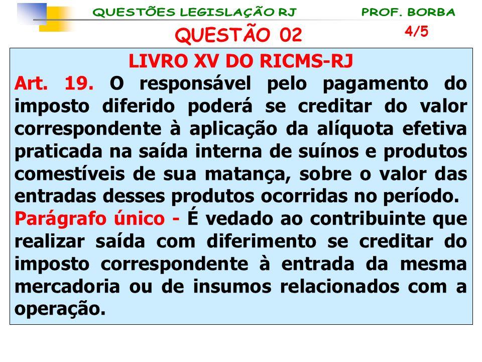 LIVRO XV DO RICMS-RJ Art. 19. O responsável pelo pagamento do imposto diferido poderá se creditar do valor correspondente à aplicação da alíquota efet
