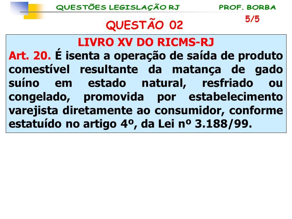 LIVRO XV DO RICMS-RJ Art. 20. É isenta a operação de saída de produto comestível resultante da matança de gado suíno em estado natural, resfriado ou c