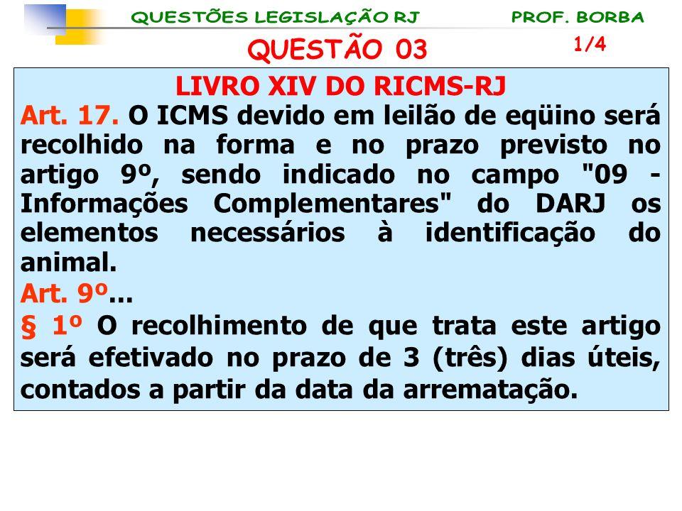 LIVRO XIV DO RICMS-RJ Art. 17. O ICMS devido em leilão de eqüino será recolhido na forma e no prazo previsto no artigo 9º, sendo indicado no campo