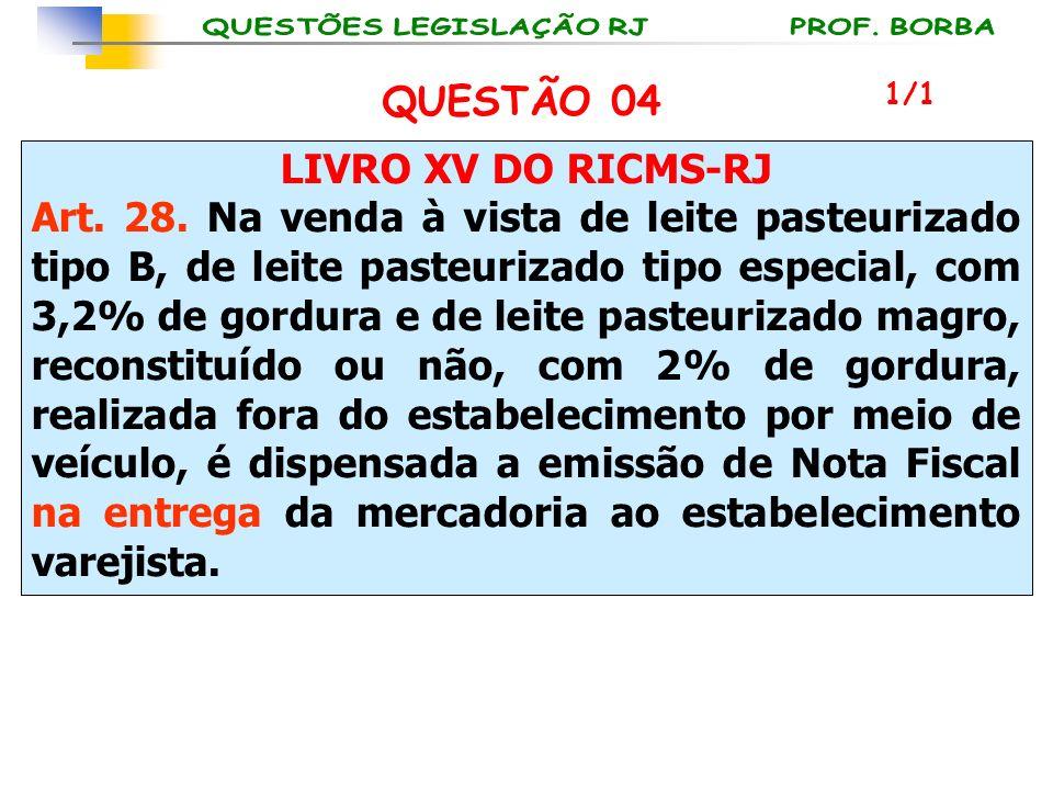 LIVRO XV DO RICMS-RJ Art. 28. Na venda à vista de leite pasteurizado tipo B, de leite pasteurizado tipo especial, com 3,2% de gordura e de leite paste