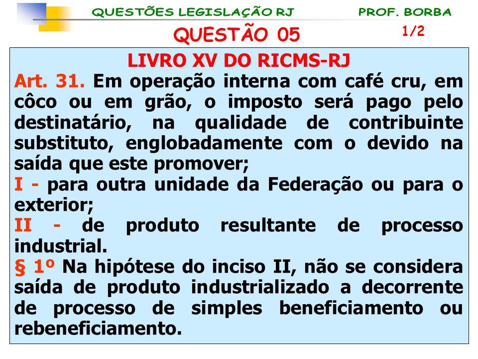 LIVRO XV DO RICMS-RJ Art. 31. Em operação interna com café cru, em côco ou em grão, o imposto será pago pelo destinatário, na qualidade de contribuint