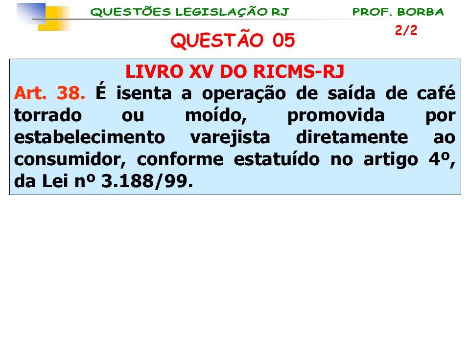 LIVRO XV DO RICMS-RJ Art. 38. É isenta a operação de saída de café torrado ou moído, promovida por estabelecimento varejista diretamente ao consumidor