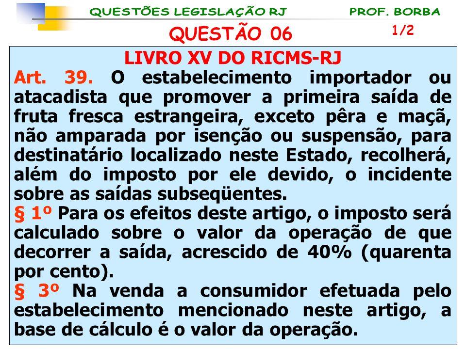 LIVRO XV DO RICMS-RJ Art. 39. O estabelecimento importador ou atacadista que promover a primeira saída de fruta fresca estrangeira, exceto pêra e maçã