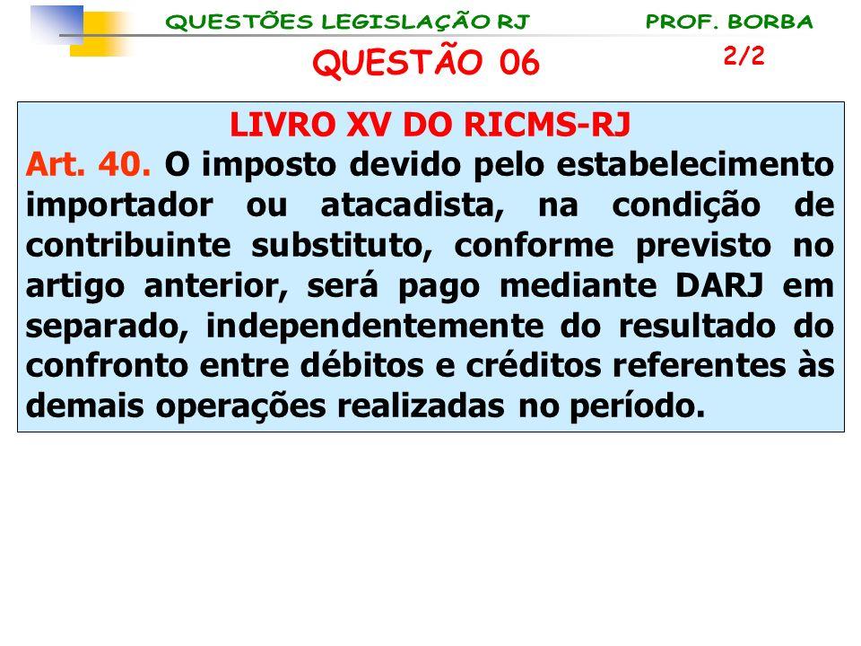 LIVRO XV DO RICMS-RJ Art. 40. O imposto devido pelo estabelecimento importador ou atacadista, na condição de contribuinte substituto, conforme previst