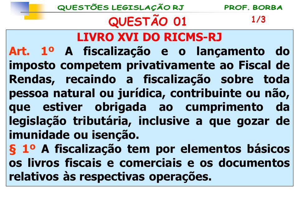 LIVRO XVI DO RICMS-RJ Art. 1º A fiscalização e o lançamento do imposto competem privativamente ao Fiscal de Rendas, recaindo a fiscalização sobre toda