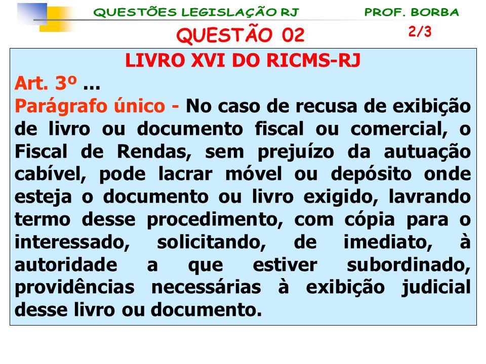 LIVRO XVI DO RICMS-RJ Art. 3º... Parágrafo único - No caso de recusa de exibição de livro ou documento fiscal ou comercial, o Fiscal de Rendas, sem pr
