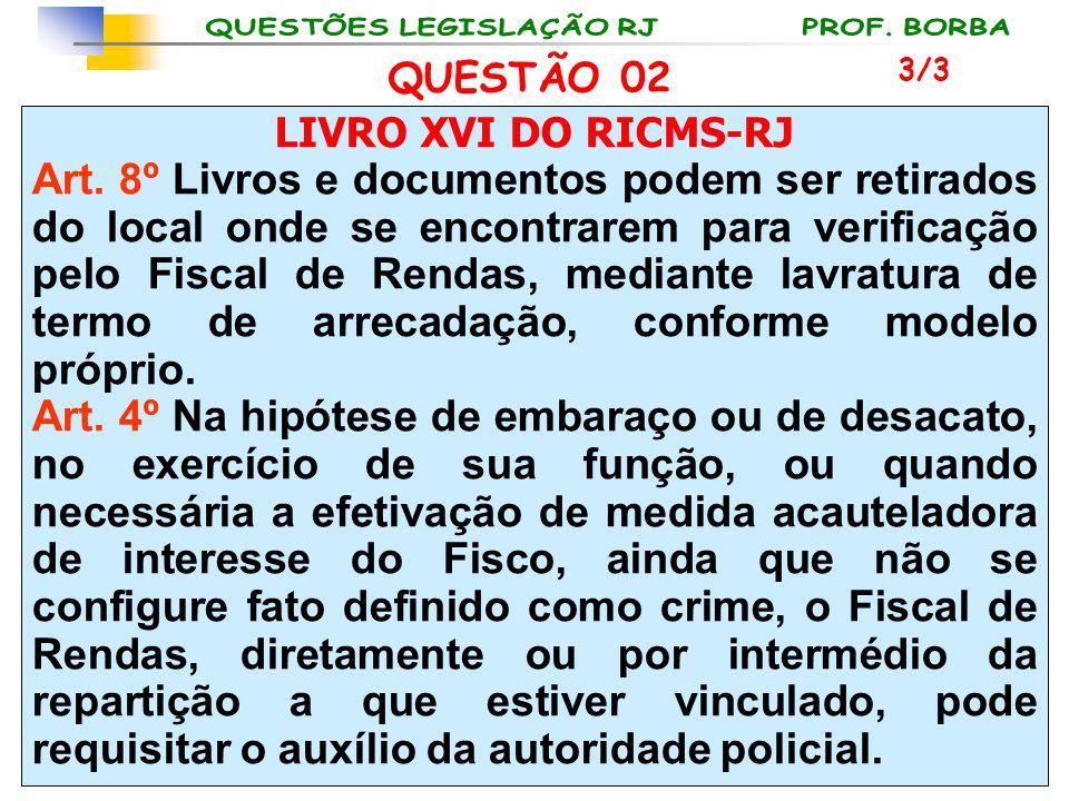 LIVRO XVI DO RICMS-RJ Art. 8º Livros e documentos podem ser retirados do local onde se encontrarem para verificação pelo Fiscal de Rendas, mediante la
