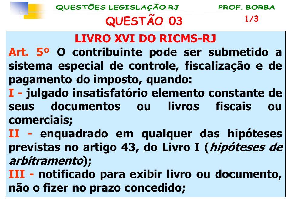 LIVRO XVI DO RICMS-RJ Art. 5º O contribuinte pode ser submetido a sistema especial de controle, fiscalização e de pagamento do imposto, quando: I - ju
