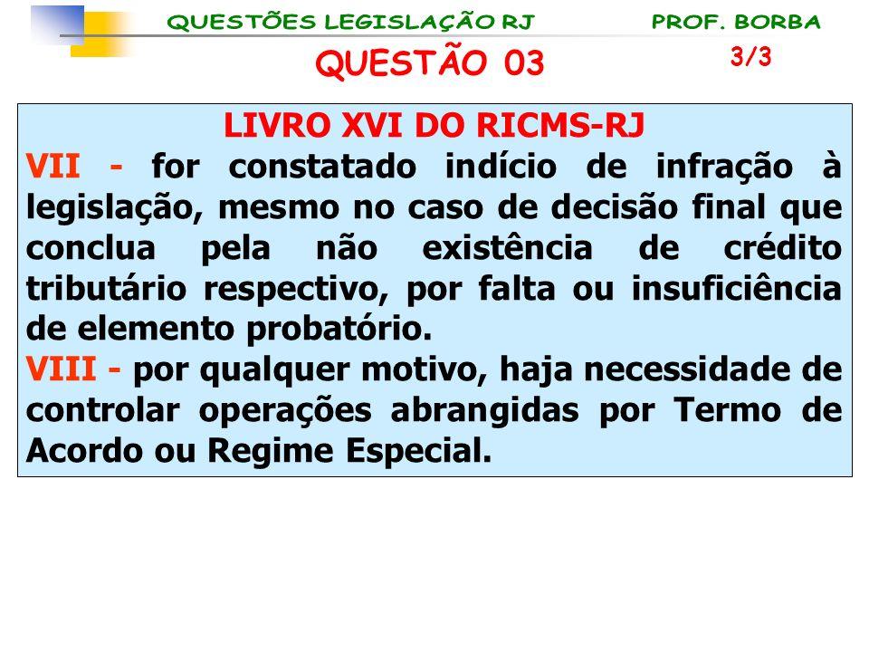 LIVRO XVI DO RICMS-RJ VII - for constatado indício de infração à legislação, mesmo no caso de decisão final que conclua pela não existência de crédito
