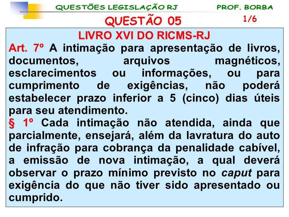 LIVRO XVI DO RICMS-RJ Art. 7º A intimação para apresentação de livros, documentos, arquivos magnéticos, esclarecimentos ou informações, ou para cumpri
