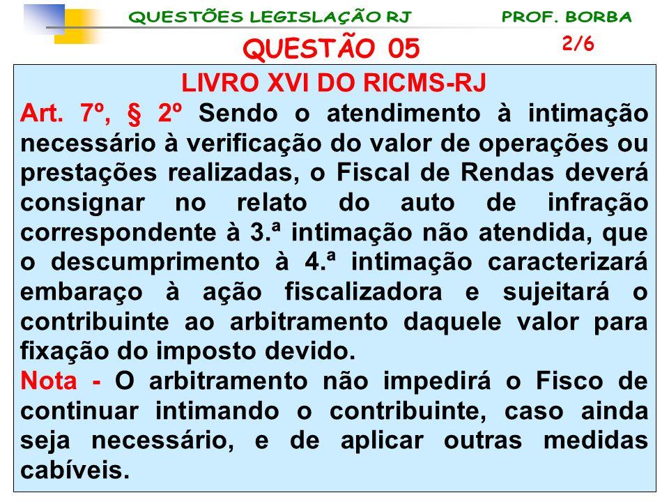 LIVRO XVI DO RICMS-RJ Art. 7º, § 2º Sendo o atendimento à intimação necessário à verificação do valor de operações ou prestações realizadas, o Fiscal