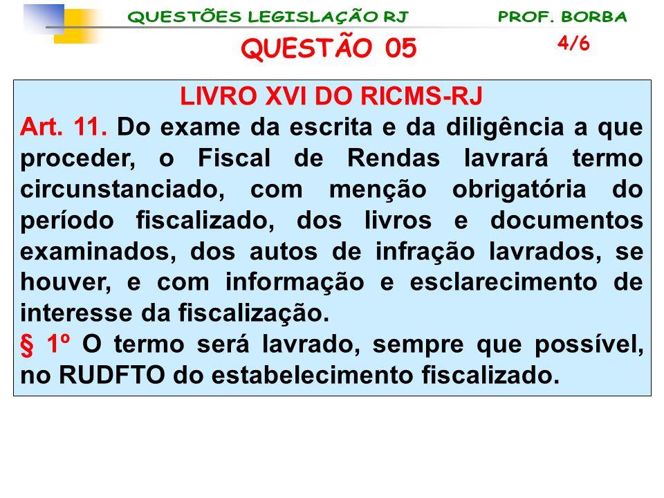 LIVRO XVI DO RICMS-RJ Art. 11. Do exame da escrita e da diligência a que proceder, o Fiscal de Rendas lavrará termo circunstanciado, com menção obriga