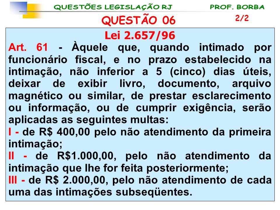 Lei 2.657/96 Art. 61 - Àquele que, quando intimado por funcionário fiscal, e no prazo estabelecido na intimação, não inferior a 5 (cinco) dias úteis,
