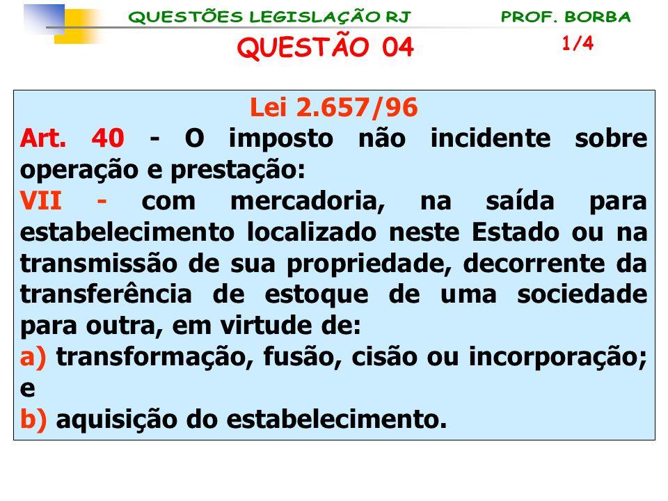 Lei 2.657/96 Art. 40 - O imposto não incidente sobre operação e prestação: VII - com mercadoria, na saída para estabelecimento localizado neste Estado