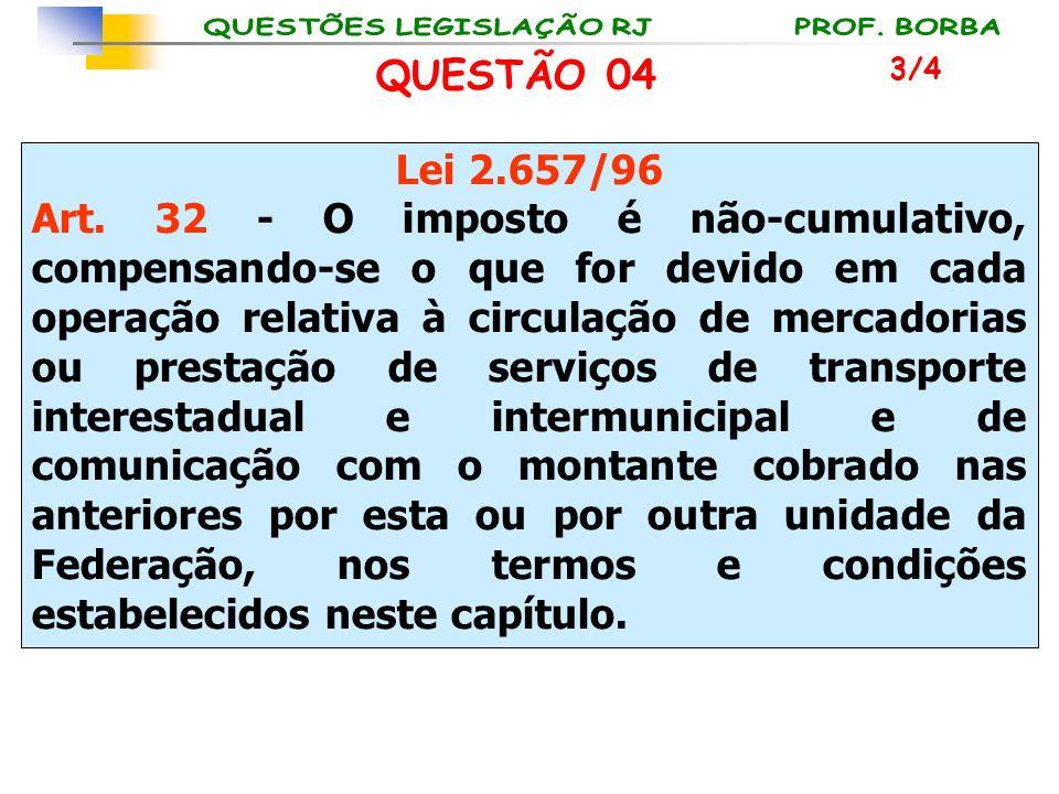 Lei 2.657/96 Art. 32 - O imposto é não-cumulativo, compensando-se o que for devido em cada operação relativa à circulação de mercadorias ou prestação