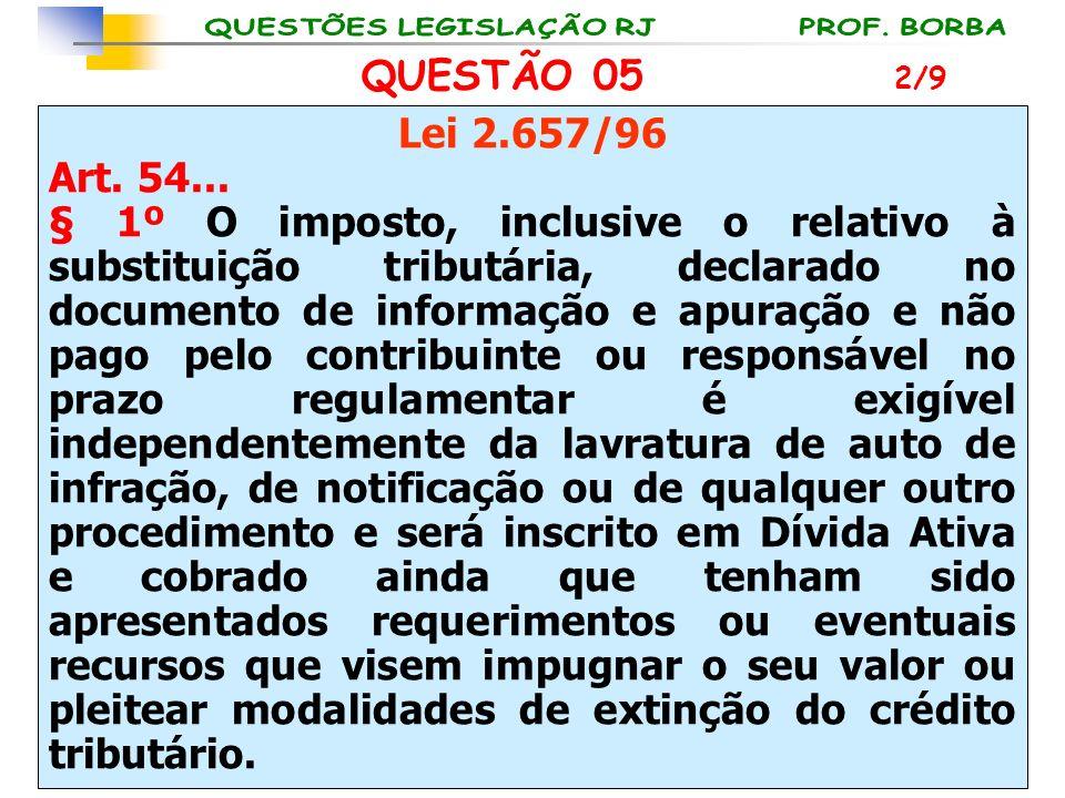 QUESTÃO 05 Lei 2.657/96 Art. 54... § 1º O imposto, inclusive o relativo à substituição tributária, declarado no documento de informação e apuração e n
