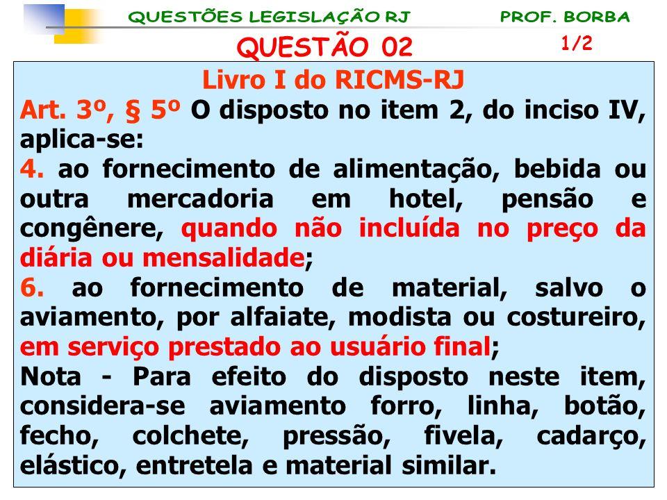 Livro I do RICMS-RJ Art. 3º, § 5º O disposto no item 2, do inciso IV, aplica-se: 4. ao fornecimento de alimentação, bebida ou outra mercadoria em hote