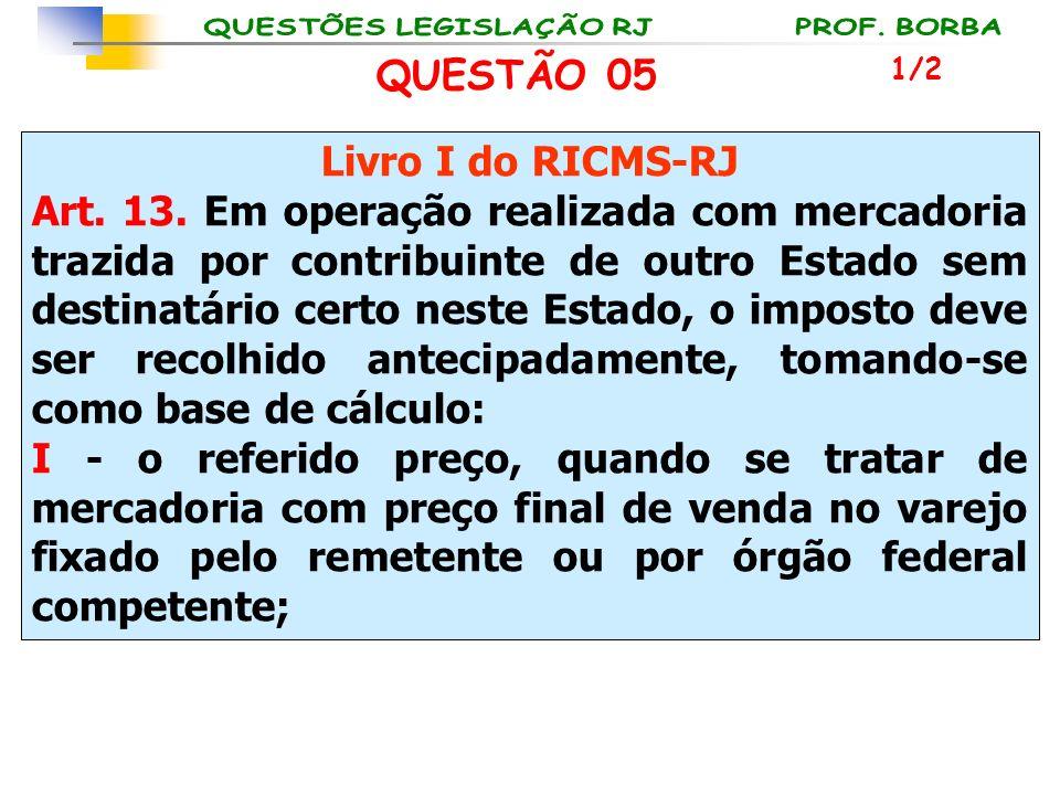 Livro I do RICMS-RJ Art. 13. Em operação realizada com mercadoria trazida por contribuinte de outro Estado sem destinatário certo neste Estado, o impo