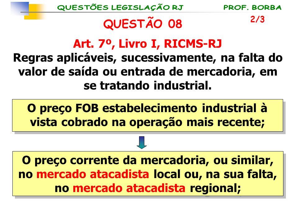 Art. 7º, Livro I, RICMS-RJ Regras aplicáveis, sucessivamente, na falta do valor de saída ou entrada de mercadoria, em se tratando industrial. O preço