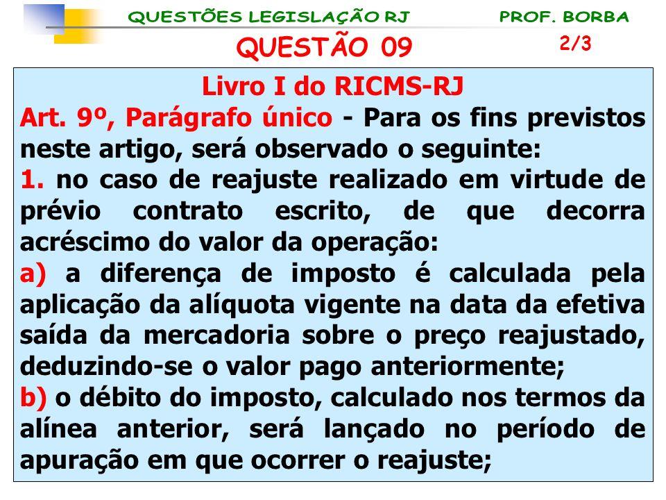 Livro I do RICMS-RJ Art. 9º, Parágrafo único - Para os fins previstos neste artigo, será observado o seguinte: 1. no caso de reajuste realizado em vir