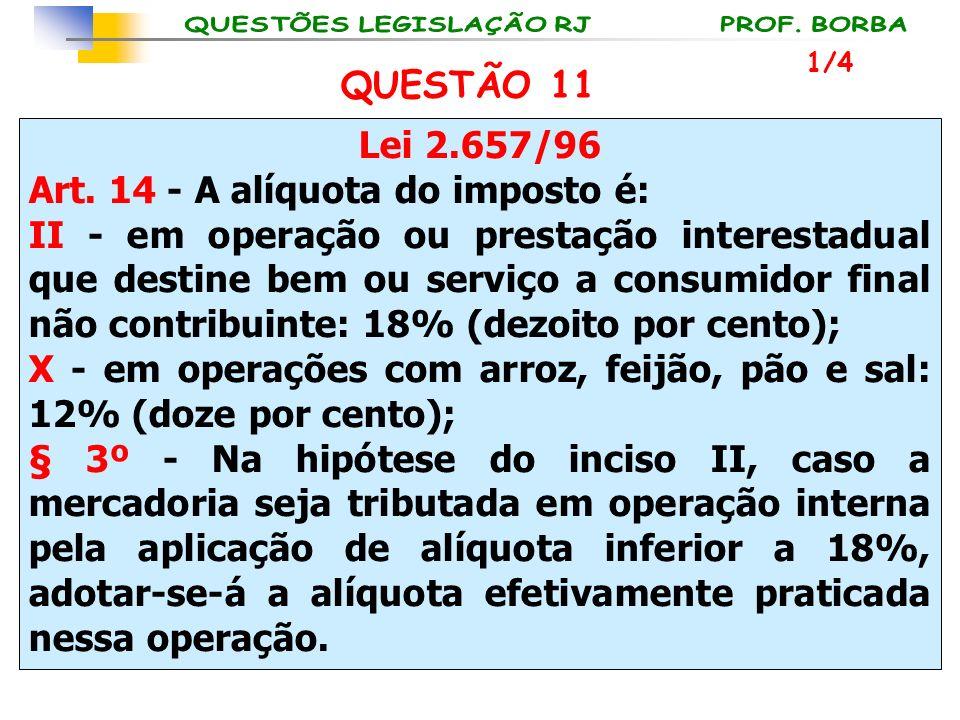 Lei 2.657/96 Art. 14 - A alíquota do imposto é: II - em operação ou prestação interestadual que destine bem ou serviço a consumidor final não contribu