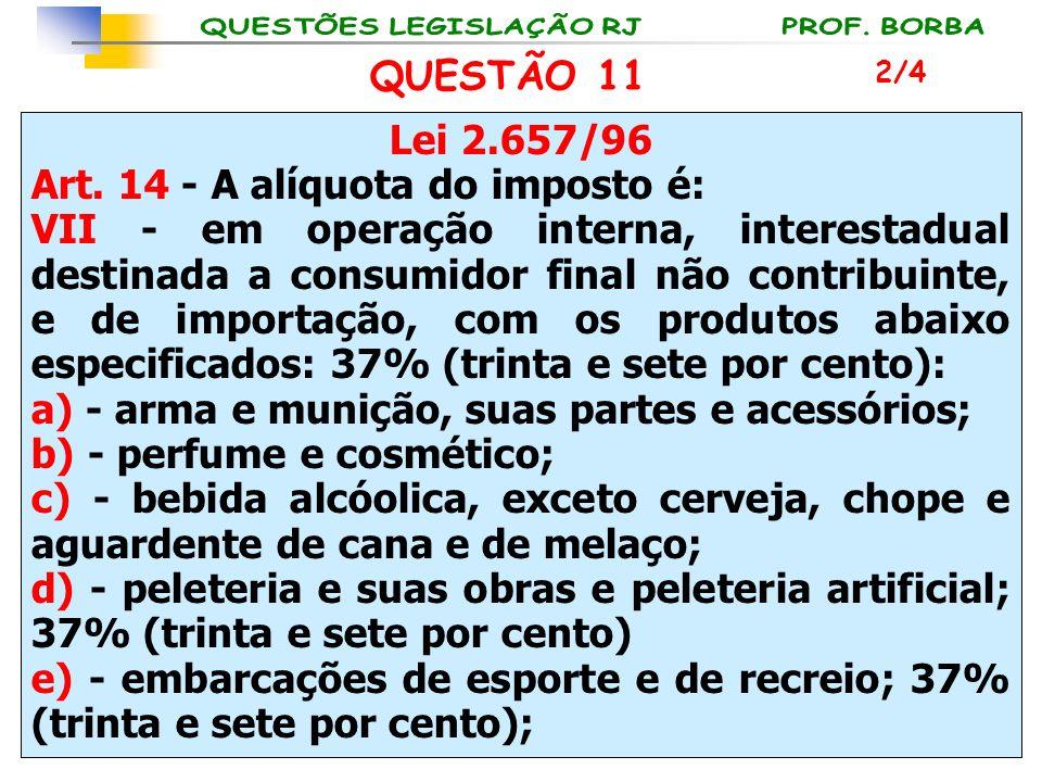 Lei 2.657/96 Art. 14 - A alíquota do imposto é: VII - em operação interna, interestadual destinada a consumidor final não contribuinte, e de importaçã