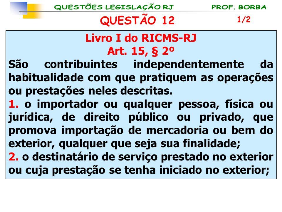 Livro I do RICMS-RJ Art. 15, § 2º São contribuintes independentemente da habitualidade com que pratiquem as operações ou prestações neles descritas. 1