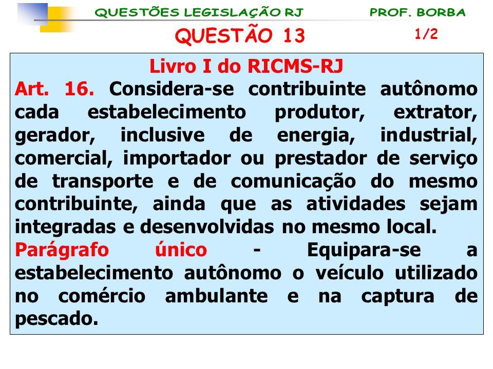 Livro I do RICMS-RJ Art. 16. Considera-se contribuinte autônomo cada estabelecimento produtor, extrator, gerador, inclusive de energia, industrial, co