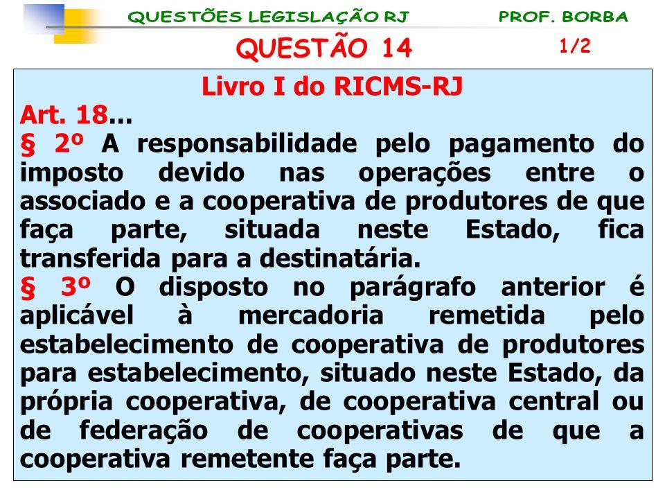 Livro I do RICMS-RJ Art. 18... § 2º A responsabilidade pelo pagamento do imposto devido nas operações entre o associado e a cooperativa de produtores