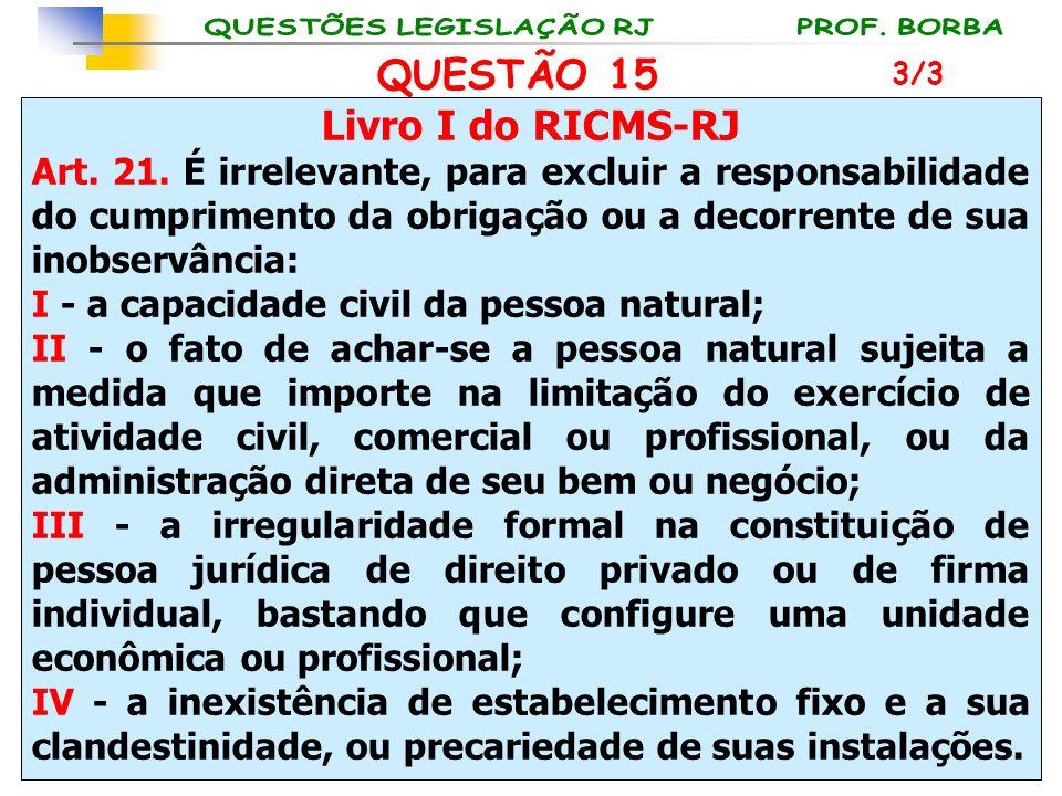 Livro I do RICMS-RJ Art. 21. É irrelevante, para excluir a responsabilidade do cumprimento da obrigação ou a decorrente de sua inobservância: I - a ca