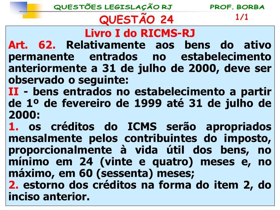 Livro I do RICMS-RJ Art. 62. Relativamente aos bens do ativo permanente entrados no estabelecimento anteriormente a 31 de julho de 2000, deve ser obse